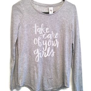 Aerie Gray Long Sleeve Breast Awareness T-shirt
